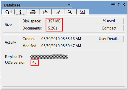 ODS43 mailbox with 5261 documents at 357MB