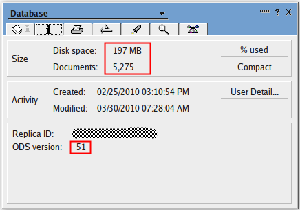 ODS51 mailbox with 5261 documents at 197MB